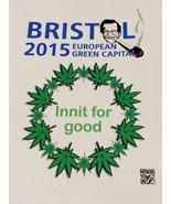 Bristol green capital vinyl sticker 140mm x 105mm cannabis humour - $3.35