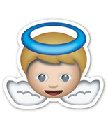 Emoji Angel Baby shaped vinyl sticker 100mm or 150mm app iPhone  - $3.00+