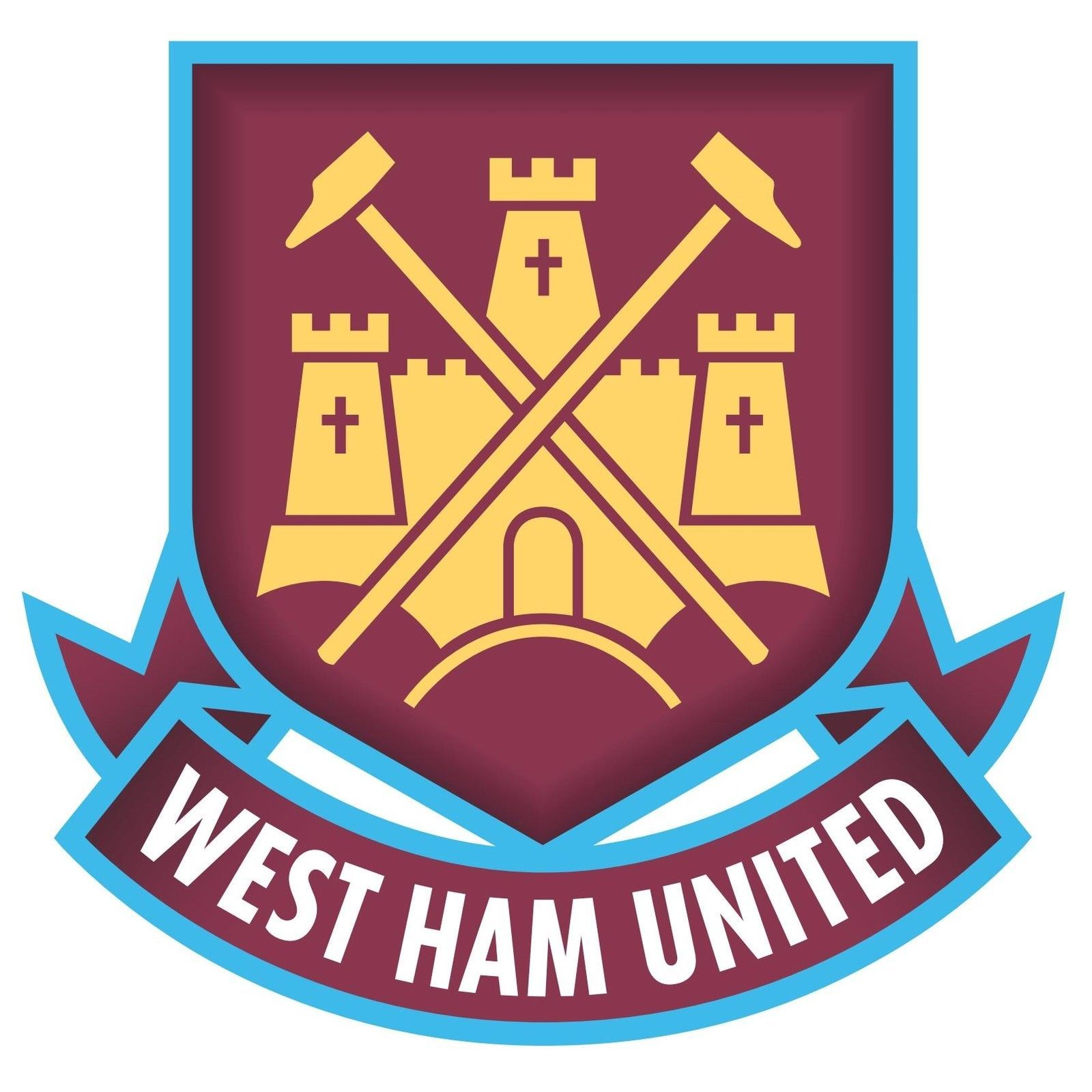 West Ham United FC shaped vinyl sticker 130x120mm football soccer The Hammers for sale  USA