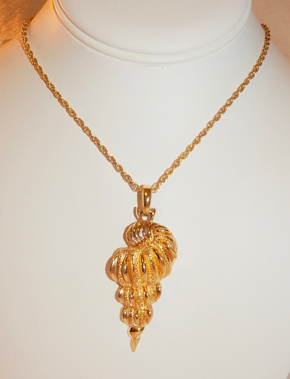 d orlan gold plated spiral seashell pendant necklace