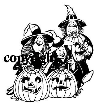 3 WITCHES, 3 JACK-O-LANTERNS NEW mounted rubber stamp