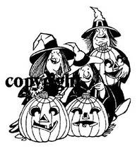 3 WITCHES, 3 JACK-O-LANTERNS NEW mounted rubber stamp - $8.50