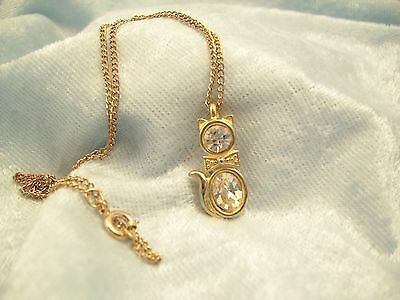 CZ Kitty Cat Pendant Cubic Zirconia Necklace Gold Plated Figural Sparkle Signed image 10