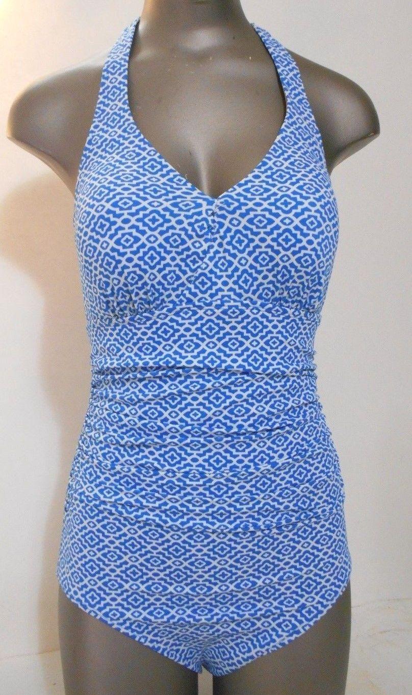 6a497014ac9a7 57. 57. Previous. L.L. Bean Womens Turquoise White Halter Neck One Piece  Swimsuit · L.L. Bean ...