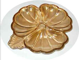 Collectible Dish Clover Shamrock Shape Glass Carnival JEANNETTE VGC Ambe... - $14.80