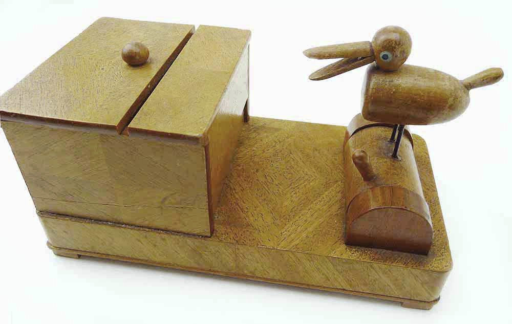 1930 All Inlaid RoseWood Mechanical Bird Box Automatic Opens Bird Leans Forward  - $58.99