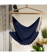BLUE CHAMBRAY HAMMOCK CHAIR with FRINGE TRIM - $42.00