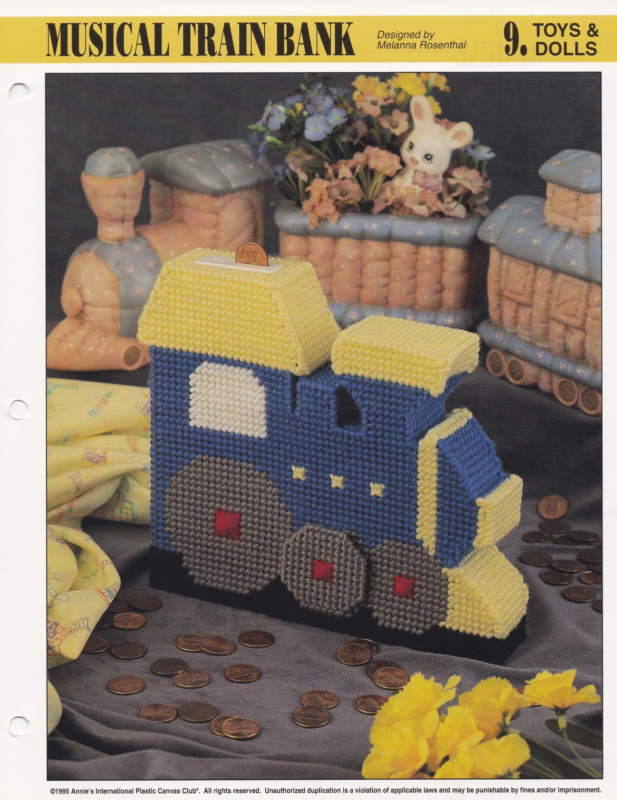 Primary image for Musical Train Bank, Annie's Attic Toy Plastic Canvas Pattern Leaflet PLCX411-06