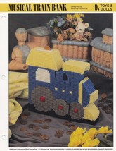 Musical Train Bank, Annie's Attic Toy Plastic Canvas Pattern Leaflet PLC... - $1.95
