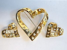 Signed Avon TRUE HEARTS Pin Brooch & Earrings Set Goldtone Twisted Ribbo... - €15,78 EUR