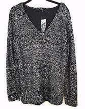 Apt 9 Sequin Infused V Neck Sweater Plus Size 1X Black Silver Shear Lining  - $24.74