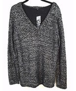 Apt 9 Sequin Infused V Neck Sweater Plus Size 1X Black Silver Shear Lining  - £19.26 GBP