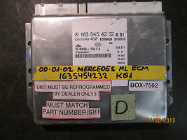 00 01 02 MERCEDES ML ECM #1635454232/KO1 *See item description* - $178.19