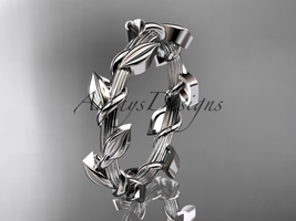 Unique platinum  leaf and vine wedding ring ADLR248G - $895.00