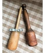 2 Vintage Primitive Wooden Potato Mashers Farmhouse Kitchen Tools Utensi... - $25.73