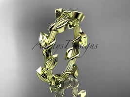 Unique 14kt yellow gold leaf and vine wedding ring ADLR248G - $395.00