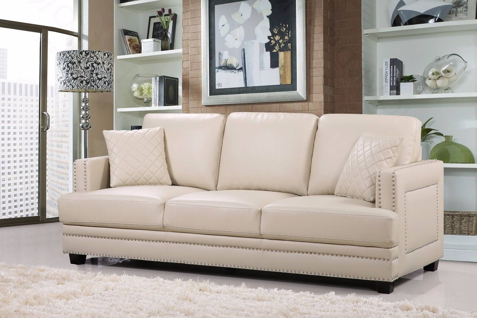 Meridian 655 Bonded Leather Living Room Sofa Set 3pc. Beige Contemporary Style