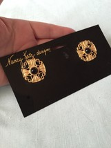 Ultra Rare New Vintage Rhinestone Nancy Katz Shoe Design Clips Gold Roun... - $20.57