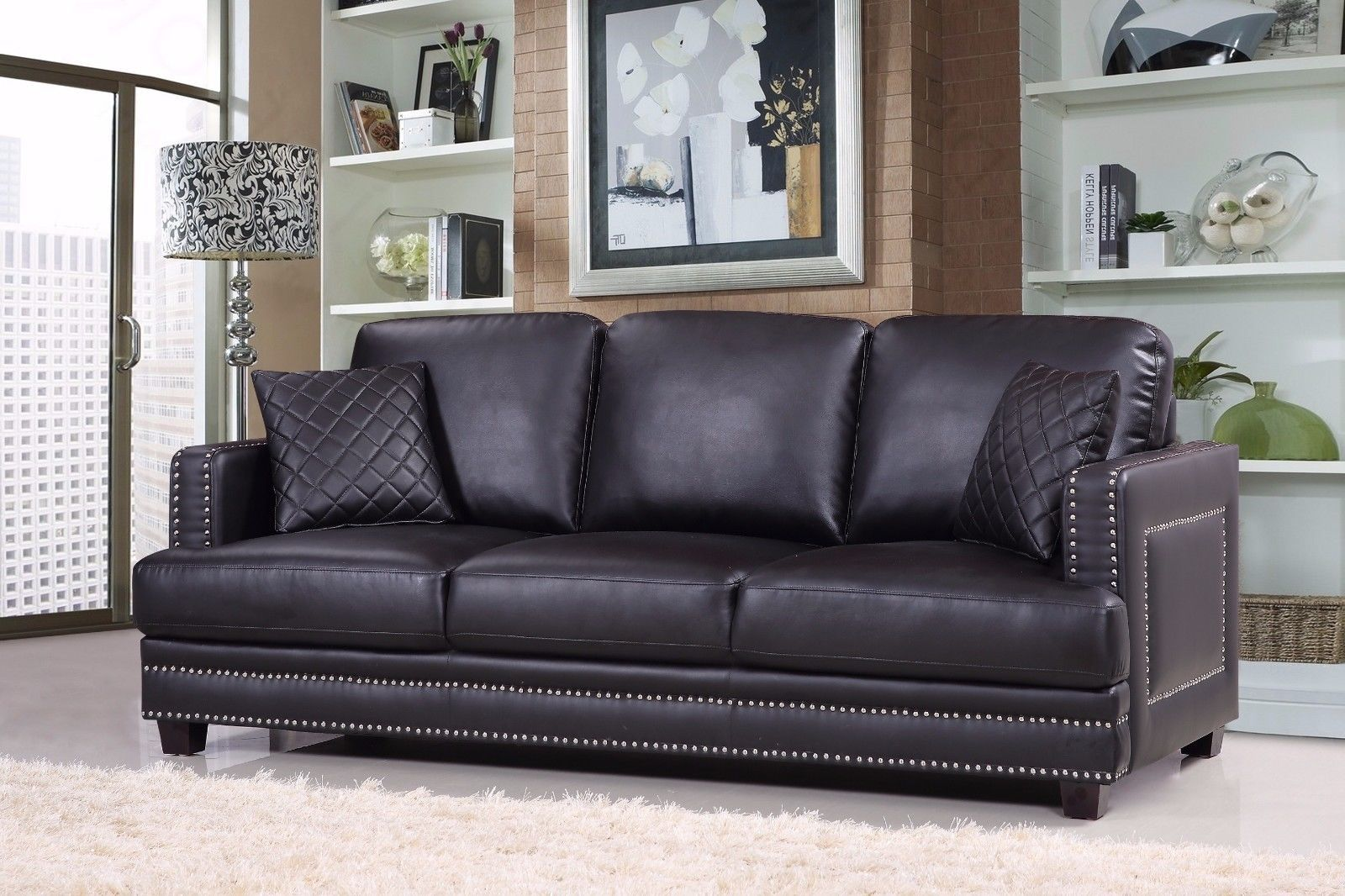 Meridian 655 Bonded Leather Living Room Sofa Set 3pc. Black Contemporary Style