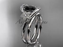 Platinum  diamond wedding set with a Black Diamond center stone ADLR166S - $2,850.00