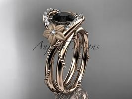 14kt rose gold diamond wedding set with a Black Diamond center stone ADLR166S - $1,980.00