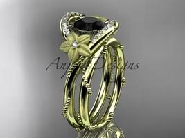 14kt yellow gold diamond wedding set with a Black Diamond center stone ADLR166S - $1,980.00