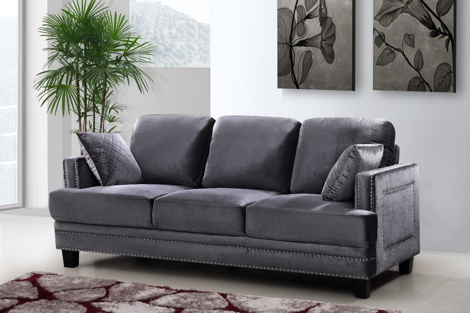 Meridian 655 Grey Velvet Leather Living Room Sofa Set 3pc. Contemporary Style