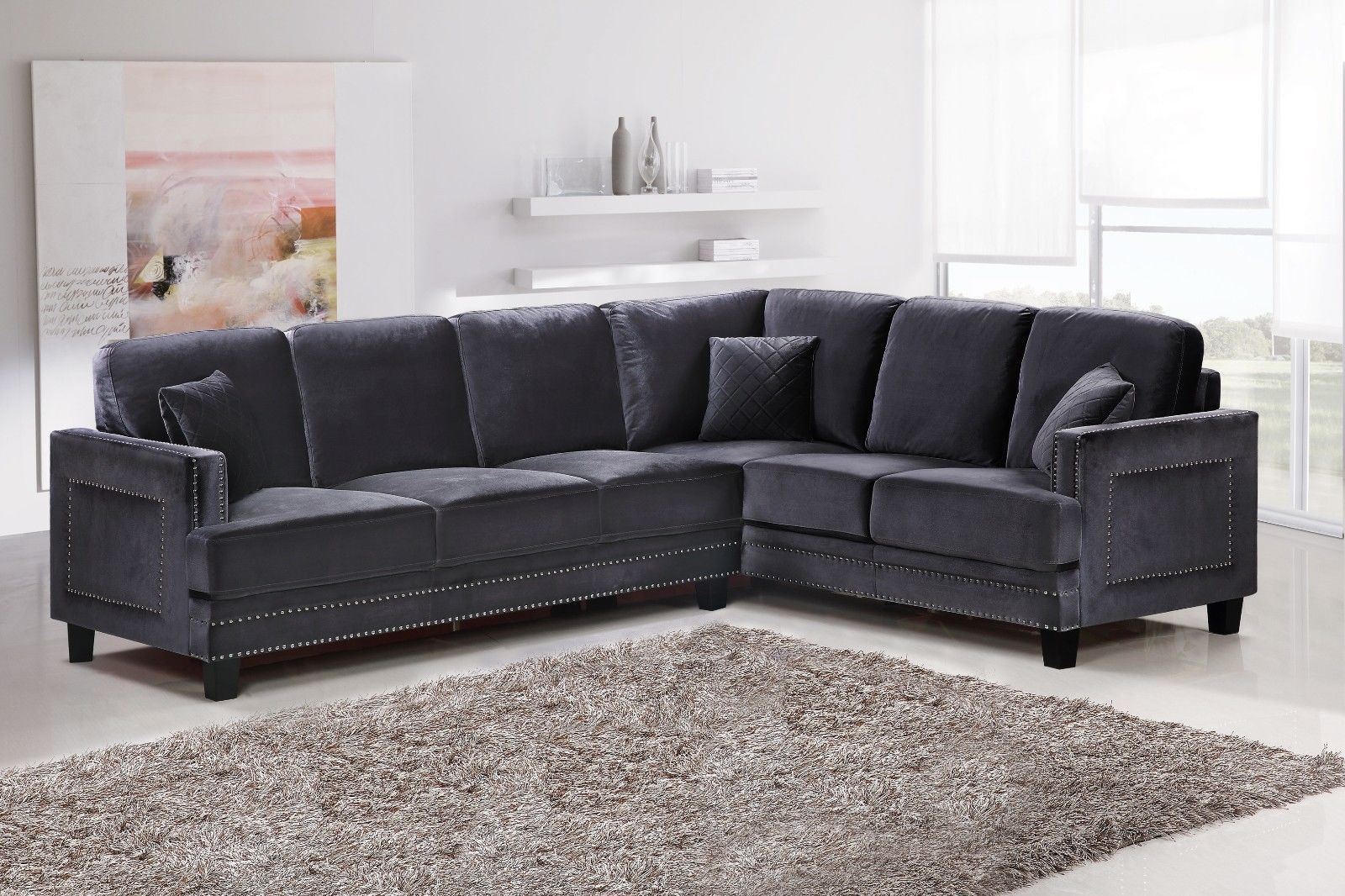 Meridian 655 Grey Velvet Sectional Chic Contemporary Right Hand Facing