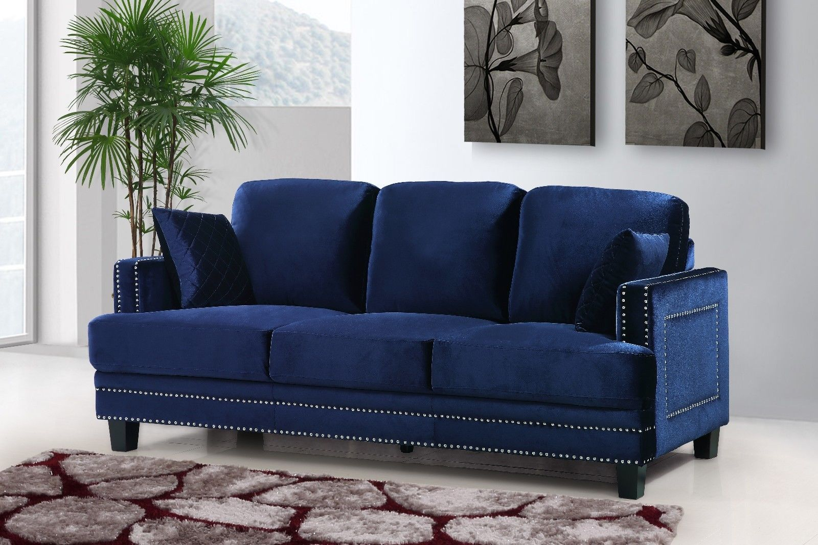 Meridian 655 Navy Velvet Leather Living Room Sofa Set 3pc.  Contemporary Style