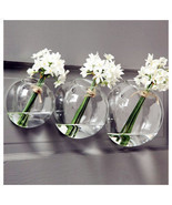Half-Round Wall Hanging Glass Terrarium Clear Crystal Planter Pot Decor 3pcs/Set - $21.06 CAD