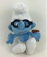 """The Smurfs Movie Brainy Smurf with Book 9"""" Blue Plush Stuffed Toy Peyo - $9.85"""