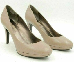 Bandolino Women Platform Pump Heels Makemem Size US 9.5M Taupe Leather - $18.00