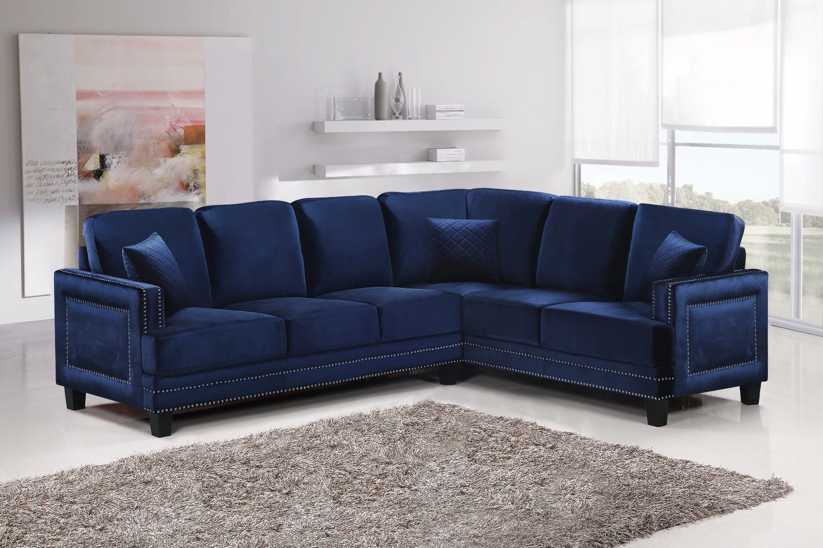 Meridian 655 Navy Velvet Sectional Sofa Left Hand Facing Contemporary Style