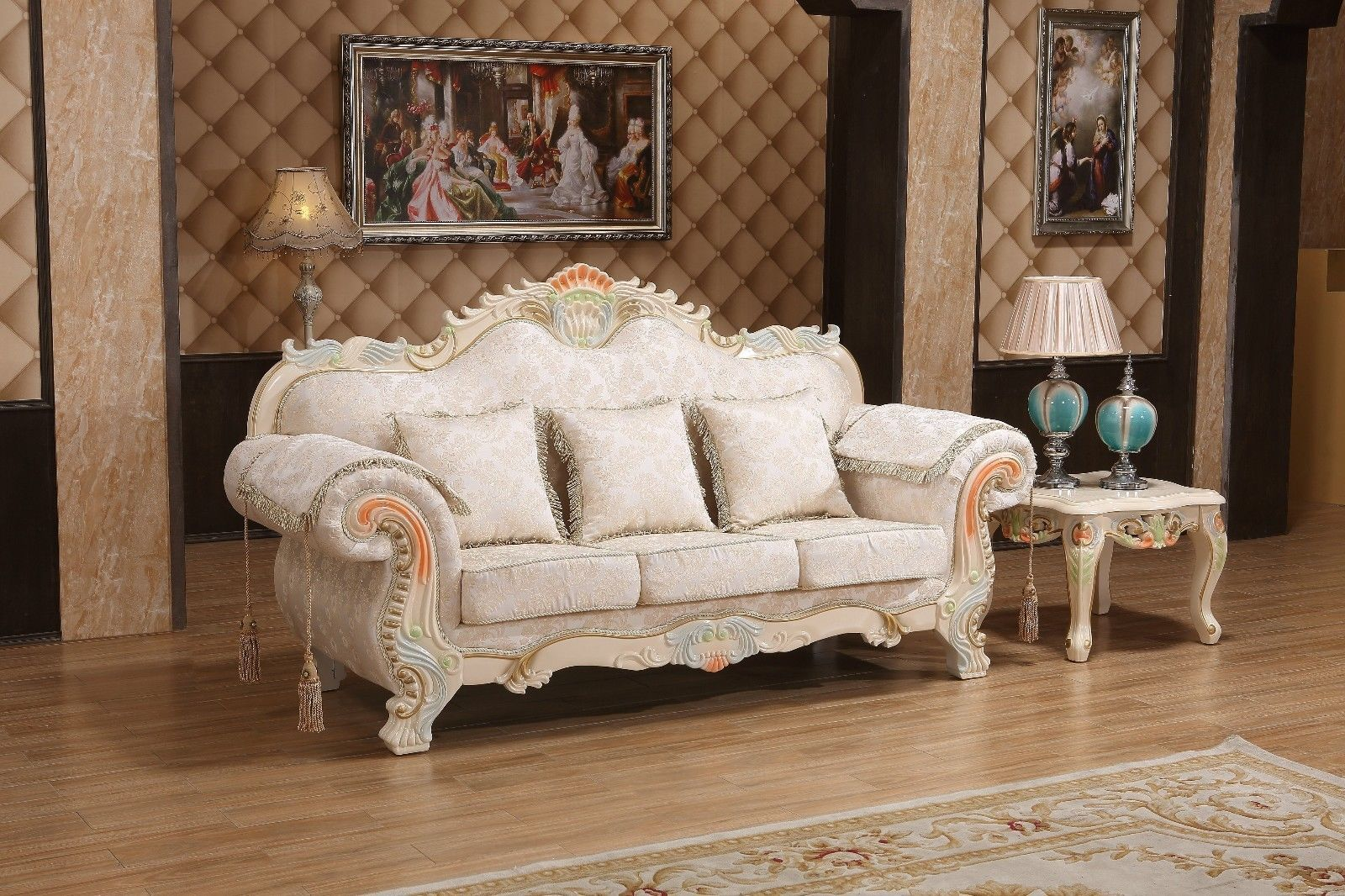 Meridian 657 Living Room Sofa Set 3pc. Pink Fabric Traditional Style