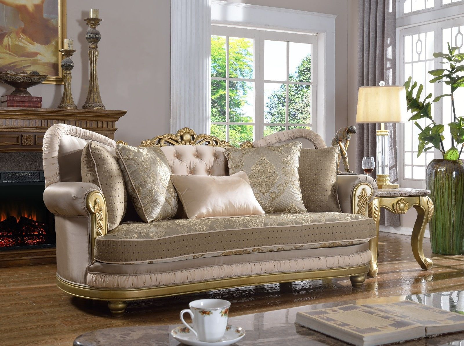 Meridian 658 Light Toned Fabric Living Room Sofa Tufted Rich Gold Traditional