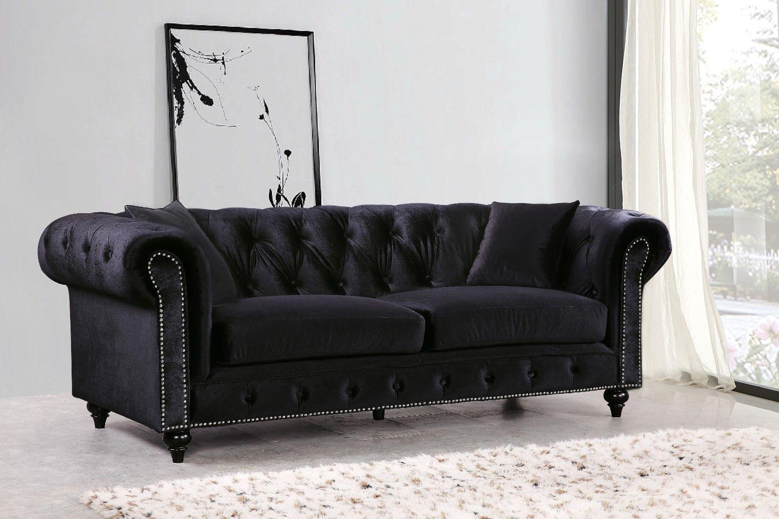 Meridian 662 Velvet Living Room Sofa Set 3pc. Tufted Black Traditional Style