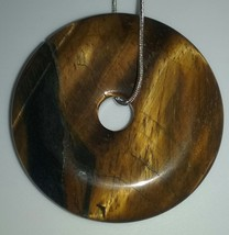 Genuine Natural Large Tiger's Eye Gemstone Donut Style Pendant On Silver... - $22.99