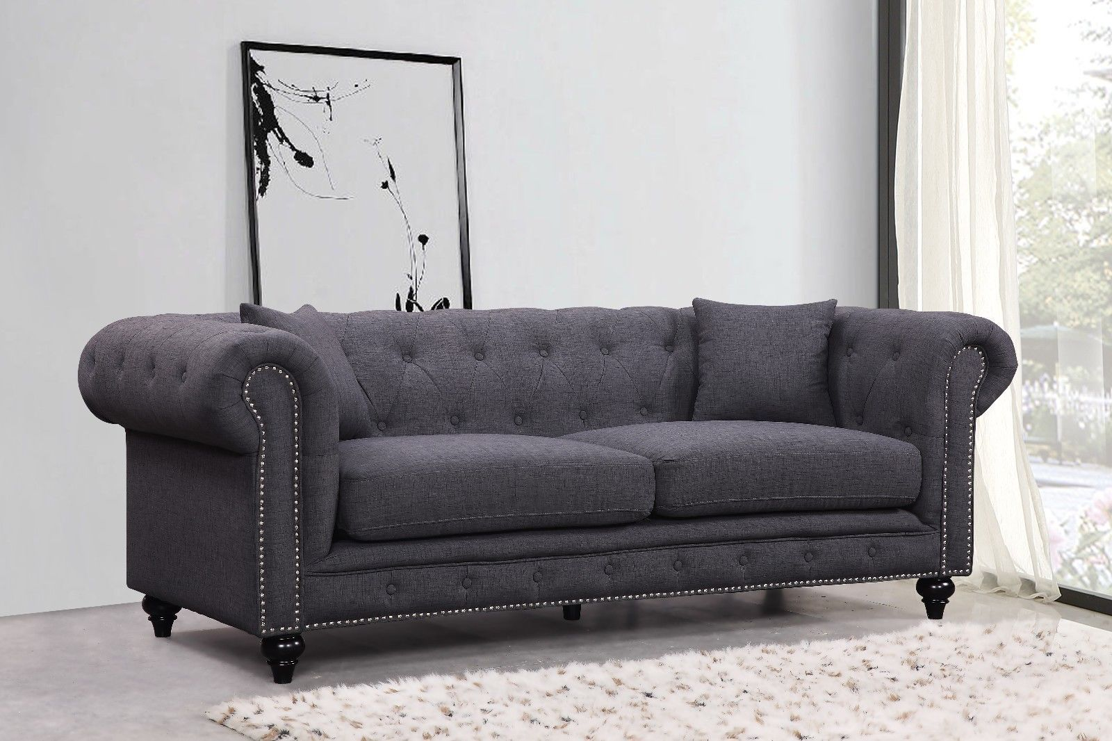Meridian 662 Linen Fabric Living Room Sofa Set 2pc.Tufted Grey Traditional Style