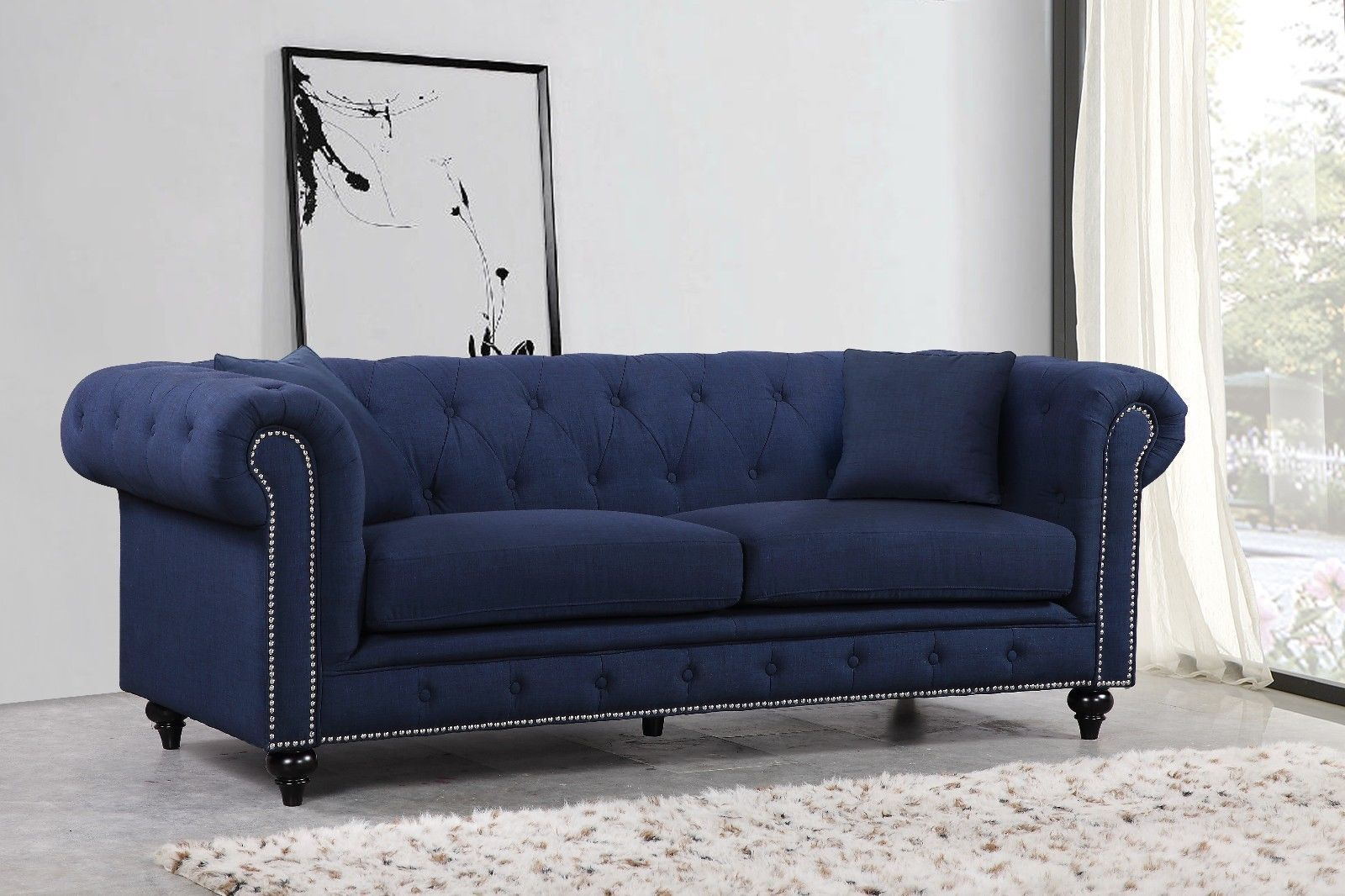 Meridian 662 Linen Fabric Living Room Sofa Set 3pc.Tufted Navy Traditional Style