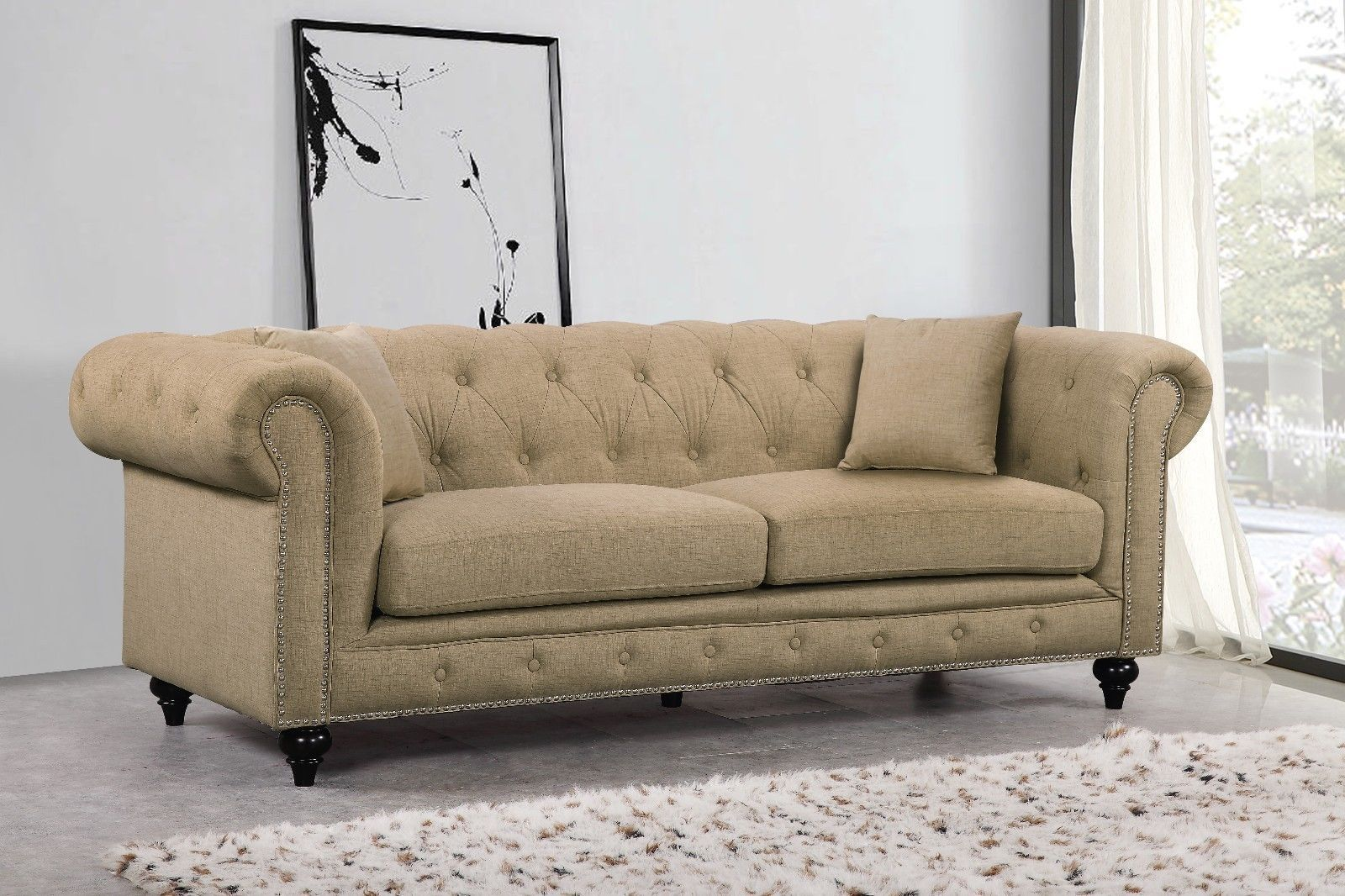 Meridian 662 Linen Fabric Living Room Sofa Set 2pc.Tufted Sand Traditional Style