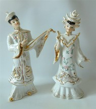 Vintage Lefton Asian Oriental Figurines Large Man Lady Musician Gold Whi... - $29.69