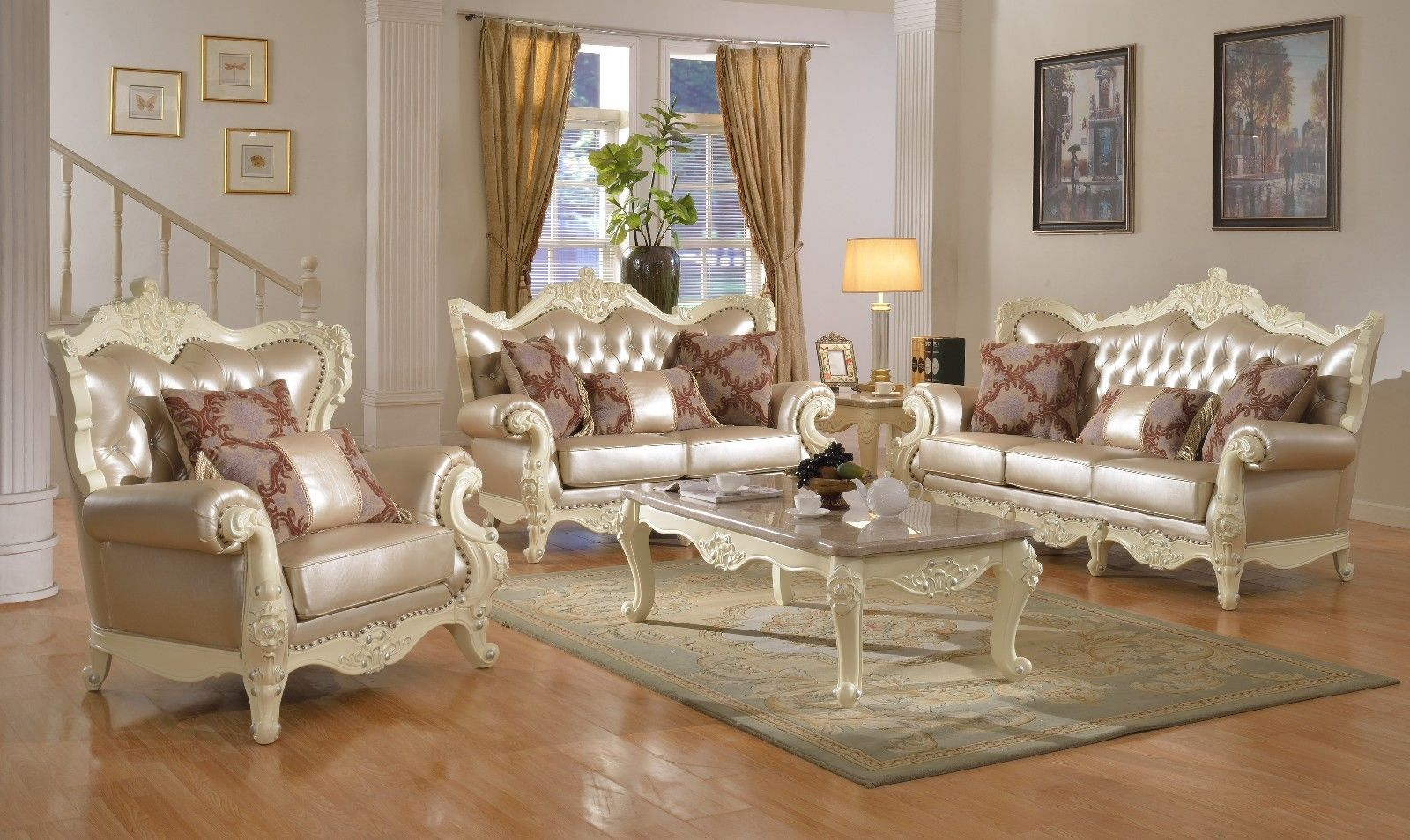Meridian 674 Bonded Living Room Sofa Set 3pc. Rich Pearl White Traditional Style