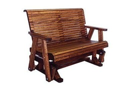 4' Quality Highback Glider Bench - Real Wood - Made In USA! - $787.05