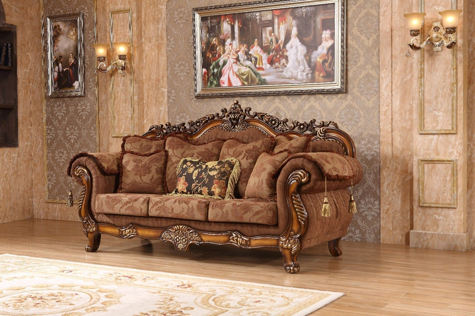 Meridian 681 Fabric Living Room Sofa Set 2pc. Brown Traditional Style