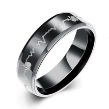 USA 6mm Black Tone Tungsten Heartbeat Cardiogram Wedding Engagement Ring... - $268,62 MXN