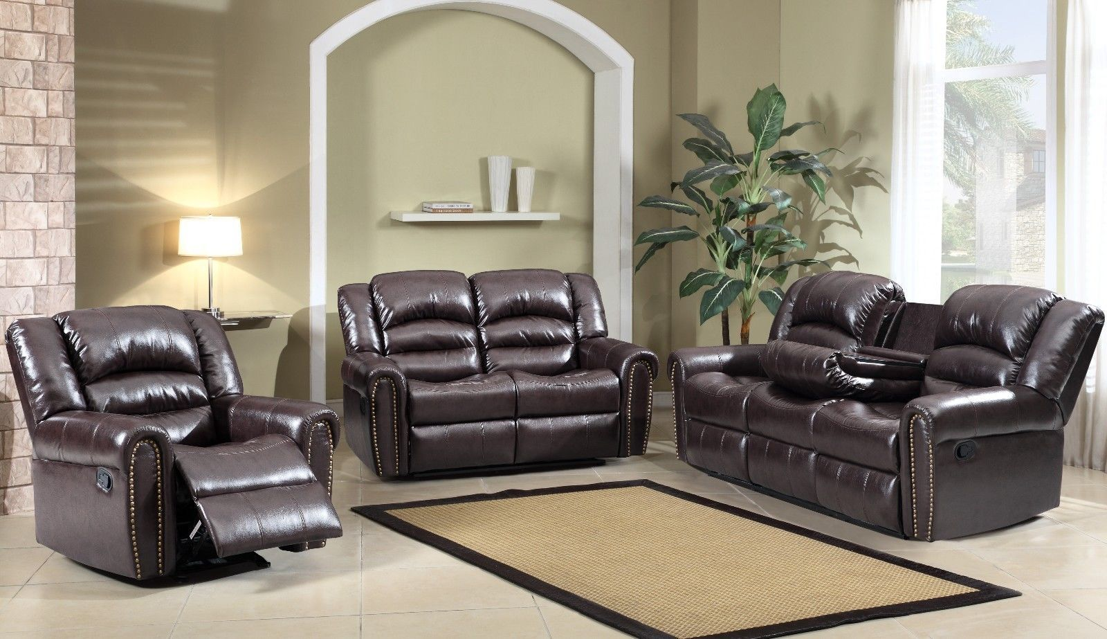 Meridian 684 Bonded Leather Living Room Sofa Set 2pc. Brown Traditional Style