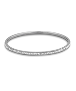 Thin Silver Tone Fashion Bangle Bracelet with C... - $7.88