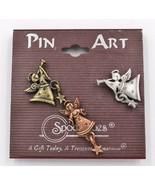 Spoontiques Angel Tac Pin Set Trumpets Stars Original Hang Tag Card - $12.86