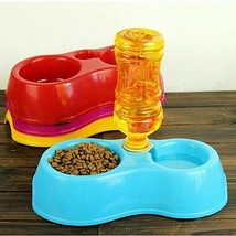Plastic Automatic Pet Feeder Dual Port Drinking Feeding Bowls Portable C... - $13.04+