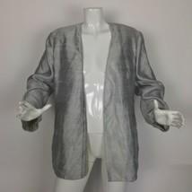 Giorgio Armani Blazer Open Silver Linen Sheen Women Size 46 XL Italy - $89.99